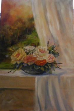 Picturi cu flori Flori in fereastra i