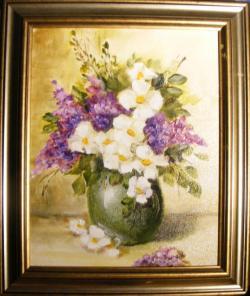 Picturi cu flori Flori mov in vas verde