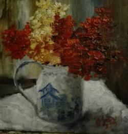 Picturi cu flori Flori rosii in vas cu pagoda