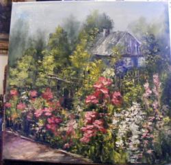 Picturi cu flori Gradina cu casuta