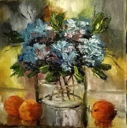 Picturi cu flori Hortensii si clementine