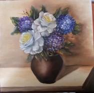Picturi cu flori Hortensii si trandafiri