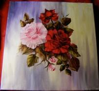 Picturi cu flori In roz si rosu