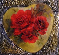 Picturi cu flori Inima rosie