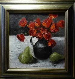 Picturi cu flori Lalele si pere