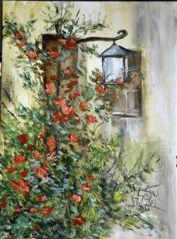 Picturi cu flori Lampa de strada