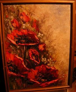 Picturi cu flori Maci in flacari