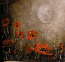 Picturi cu flori Maci in lumina lunii