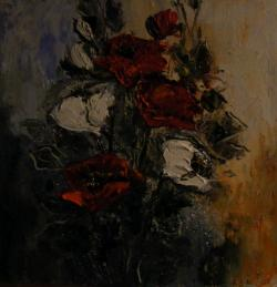 Picturi cu flori Maci in rosu si alb