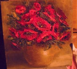 Picturi cu flori Maci in vas ceramic