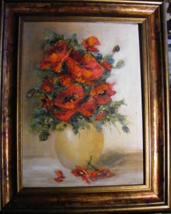 Picturi cu flori Maci in vas de lut