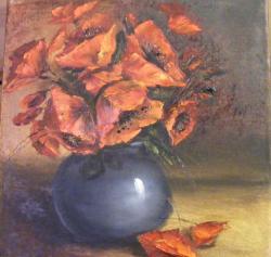 Picturi cu flori Maci rosii in vas albastru
