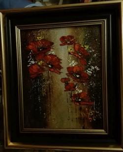Picturi cu flori Macii in lumina lunii