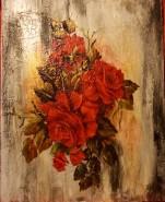 Picturi cu flori Motiv abstract cu trandafiri rosii