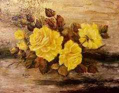 Picturi cu flori Motiv cu trandafiri galbeni
