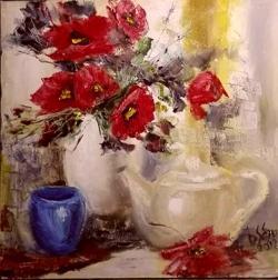 Picturi cu flori Natura  statica cu flori rosii
