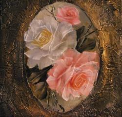 Picturi cu flori Oval cu roze