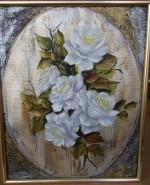 Picturi cu flori Oval cu roze albe