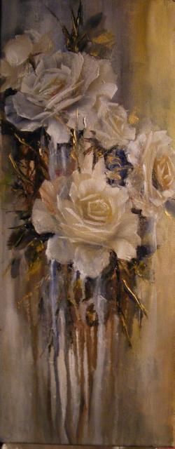 Picturi cu flori Ploaia de trandafiri albi