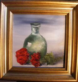 Picturi cu flori Sticla verde si garoafe
