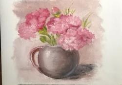 Picturi cu flori Studiu garoafe roz