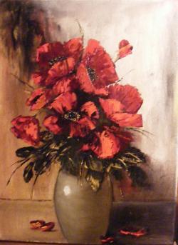 Picturi cu flori Studiu maci in cutit