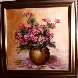 Picturi cu flori Toamna roz-amaruie