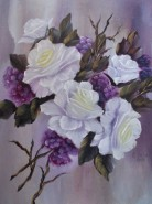 Picturi cu flori Trandafiri albi cu fructe mici