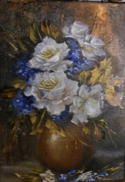 Picturi cu flori Trandafiri albi in vas galben