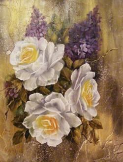 Picturi cu flori Trandafiri cu creanga de liliac