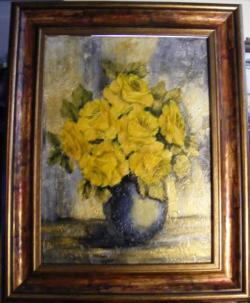 Picturi cu flori Trandafiri galbeni in vas de sticla albastra