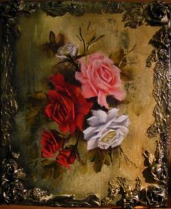 Picturi cu flori Trandafiri in rama 3D