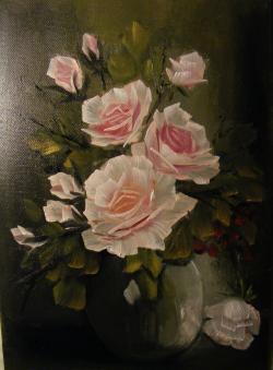 Picturi cu flori Trandafiri in vaza de sticla