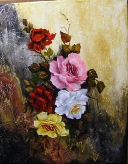 Picturi cu flori Trandafiri pe fond abstract