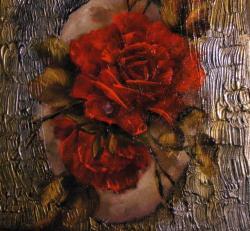Picturi cu flori Trandafiri rosii in oval