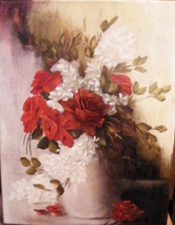Picturi cu flori Trandafiri si flori albe in vas ivoire