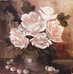 Picturi cu flori Trandafiri si perle