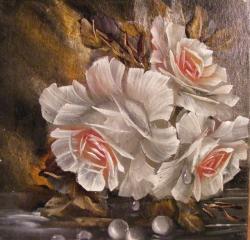 Picturi cu flori Trandafiri si perle 2