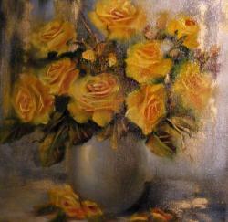 Picturi cu flori Yellow roses in white vase
