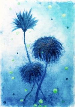 Picturi cu flori papadia albastra
