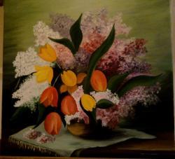 Picturi cu flori Tulips and lilas