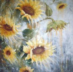 Picturi cu flori Floarea soarelui in vant