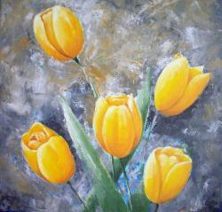 Picturi cu flori Lalele galbene 1