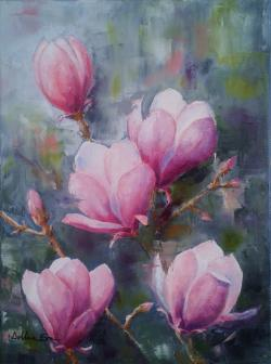 Picturi cu flori Magnolii roz 1