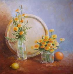 Picturi cu flori Papadii in pahar
