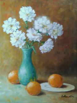 Picturi cu flori Vas cu flori si portocale