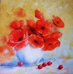 Picturi cu flori Vas cu maci si cirese