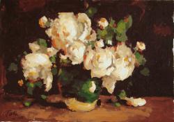 Picturi cu flori cana cu bujori albi