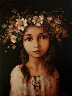 Picturi cu flori Coronita din flori de camp