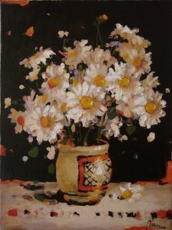 Picturi cu flori Natura statica cu stergar si margarete